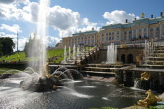Grand Cascade Peterhof, St. Petersburg, Rus Stock Photos