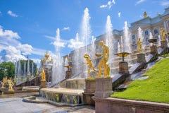 Grand Cascade in Peterhof. St Petersburg, Russia Stock Photo