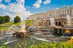 Grand Cascade in Peterhof, St Petersburg, Russia Stock Photo