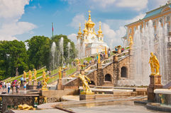 Grand Cascade in Peterhof, St Petersburg, Russia Stock Photo