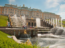 Grand Cascade in Peterhof, St Petersburg, Russia Stock Photography