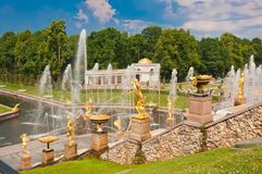 Grand Cascade in Peterhof, St Petersburg, Russia Royalty Free Stock Images