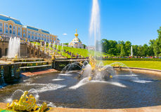 Grand Cascade in Peterhof Palace, St Petersburg Stock Image