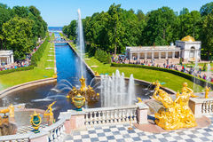 Grand Cascade and Sea Channel in Peterhof Palace, St Petersburg Royalty Free Stock Image