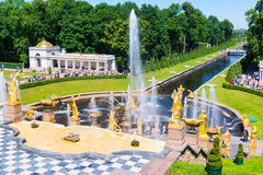 Grand Cascade and Sea Channel in Perterhof Palace, Saint Petersb Stock Photo