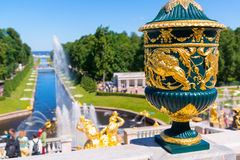 Grand Cascade and Sea Channel in Peterhof Palace, Saint Petersb Stock Images