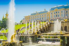 Grand Cascade and Sea Channel in Peterhof Palace. Peterhof, ST PETERSBURG, RUSSIA. ST PETERSBURG, RUSSIA. Grand Cascade and Sea Channel in Peterhof Palace. The royalty free stock image