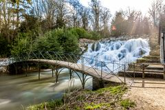 Grand cascade and waterfalls of Blenheim palace in Oxfordshire,. UK royalty free stock photos