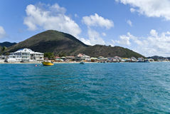 Grand Case, St. Martin. The village of Grand Case, St. Martin, the gourmet capital of the Caribbean stock image