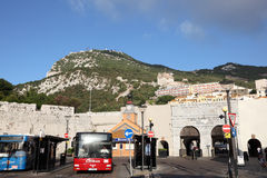 Grand Casemates, Gibraltar. Bus station at Grand Casemates Gates in Gibraltar Stock Photos