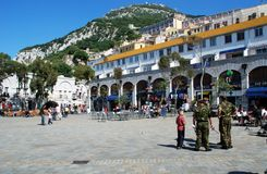 Grand Casemates Square, Gibraltar. British soldiers and tourists in Grand Casemates Square, Gibraltar, United Kingdom, Western Europe Royalty Free Stock Image