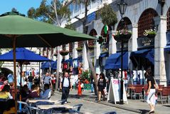 Grand Casemates Square, Gibraltar. Tourists relaxing at pavement cafes in Grand Casemates Square, Gibraltar, United Kingdom, Western Europe Stock Image