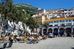 Grand Casemates Square, Gibraltar. Tourists relaxing at pavement cafes in Grand Casemates Square, Gibraltar, United Kingdom, Western Europe Royalty Free Stock Photo