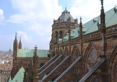 Grand Strasbourg Cathedral. The Grand Cathedral of Strasbourg Germany with its Flying Buttresses Stock Photography
