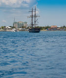 Grand Cayman, Cayman Islands. Old fashioned sailing ship in the harbor in Grand Cayman, Cayman Islands royalty free stock photos