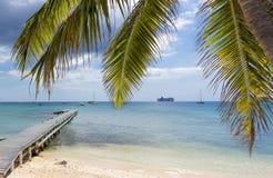 Grand Cayman Inseln, George Town, Kreuzschiff auf dem Hintergrund Stockfoto