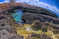 Grand Cayman Island. Fisheye capture of the ocean and distinctive lava-like rocks on Grand Cayman island Stock Photos