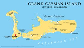 Grand Cayman Island Political Map Royalty Free Stock Image