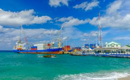 Caribe Navigator. Grand Cayman, Cayman Islands, the freighter Caribe Navigator moored in the port of George Town in the Caribbean stock photo