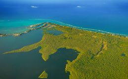 Grand Cayman-North Side Aerial View stock photography