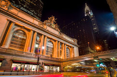 Grand Central along 42nd Street at night Royalty Free Stock Photos
