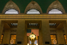 Grand Central Clock with Flag and Windows Stock Image