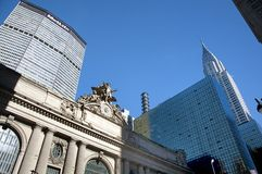 Grand central in new york city. A shot of landmark buildings: Grand central and chrysler building Royalty Free Stock Image