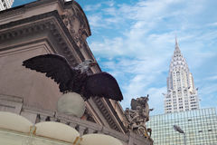 Grand central in new york city. A shot of landmark buildings: Grand central and chrysler building Stock Photos