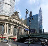 Grand Central in New York City. Grand central station entrance and Chrysler building on the back, New York City ,New York City.photo taken on Apr 09th,2011 Royalty Free Stock Photos