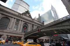 Grand Central railway station, Chrysler and Metlife buildings, USA. Grand Central railway station, Chrysler and Metlife building. Pershing square, New York, USA Royalty Free Stock Photo