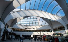 Grand Central Shopping Centre. Birmingham, England - March 17 2019:   The sun shines through the roof of Grand Central Shopping Centre off Smallbrook Queensway stock images