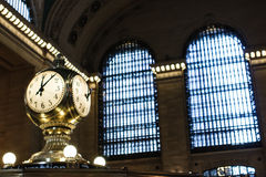 Grand central Station. Information island clock in Grand Central Station Hall Royalty Free Stock Images