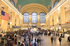 Grand Central Station, with Christmas decorations stock image