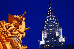 Grand Central Station and Chrysler Building, New York stock image