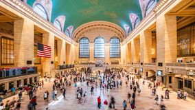 Grand Central Station of New York. Interior with lots of commuters and passengers. High dynamic range 4K super fine timelapse developed from raw photo files stock video
