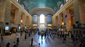 Grand Central Station New York. Grand Central Station main hall in New York City, with people walking during rush hr stock footage