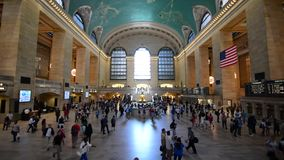 Grand Central Station New York. Grand Central Station main hall in New York City, with people walking during rush hr. speed increased, 3 min video in 30 sec stock video footage