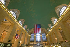 Grand Central Station panoramic view with American Flag at Amtrak Station in New York City, NY Stock Images