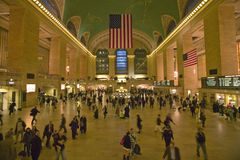 Grand Central Station panoramic view with American Flag at Amtrak Station in New York City, NY Stock Image
