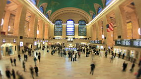 Grand Central Station Time Lapse. Time lapse of Grand Central Station pedestrian traffic using a fisheye lens and a circle blur effect stock video