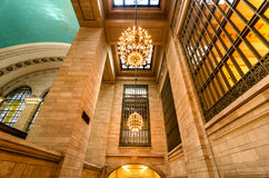 Grand Central Termiinal / Station Interior. Extreme Perspective of the Grand Central Terminal / Station Interior featuring the overhead chandelier Royalty Free Stock Images