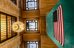 Grand Central Termiinal / Station Interior. Extreme Perspective of the Grand Central Terminal / Station Interior featuring the overhead chandelier as well as the Stock Photos