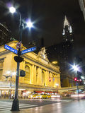 Grand Central Terminal - Chrysler. Grand Central Terminal and Chrysler Building - Street Scene at Night Stock Image