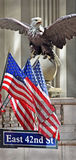 Grand Central Terminal Eagle & Flags New York. April Manhattan, New York, America Royalty Free Stock Photo