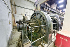 Grand Central Terminal Electrical Equipment. New York - December 29, 2015: Old electrical equipment used to drive the trains at Grand Central Terminal stock images