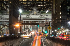 Grand Central Terminal facade from Park Avenue. Main facade of Grand Central station in Manhattan showing the sculptural group of Glory of Commerce Stock Photo