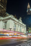 Grand Central Terminal facade from Park Avenue. 42nd street in Manhattan contains two of the most iconic buildings of NYC, Grand Central Station and the Chrysler Royalty Free Stock Photo