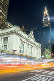 Grand Central Terminal facade from Park Avenue. 42nd street in Manhattan contains two of the most iconic buildings of NYC, Grand Central Station and the Chrysler Royalty Free Stock Image