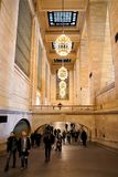 Grand Central Terminal Gallery with beautiful chandeliers lamps. royalty free stock images