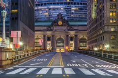 Grand Central Terminal in New York City at night. With empty street in foreground Stock Photos